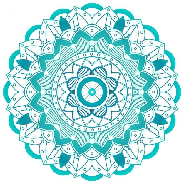Projekt mandali zielony kwiat Darmowych Wektorów