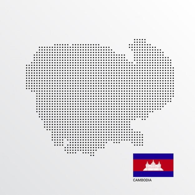 Projekt Mapy Kambodży Z Flagą I Tło Wektor światło Darmowych Wektorów