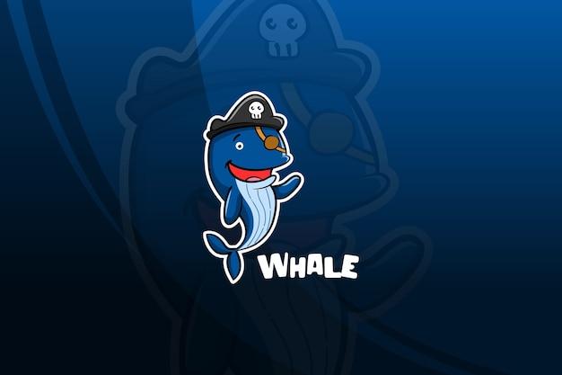 Projekt Maskotki E-sportowej Wieloryba. Piraci Premium Wektorów