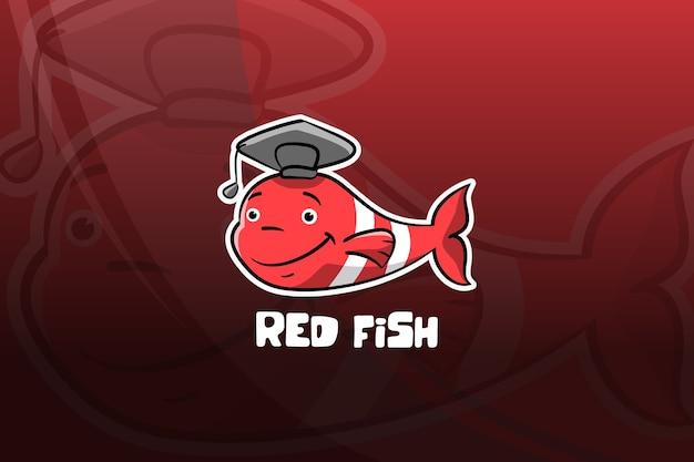 Projekt Maskotki Esport Czerwona Ryba. Ukończenie Szkoły Premium Wektorów
