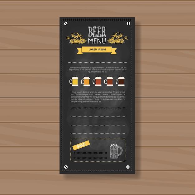 Projekt Menu Piwa Dla Restauracji Cafe Pub Chalked Premium Wektorów