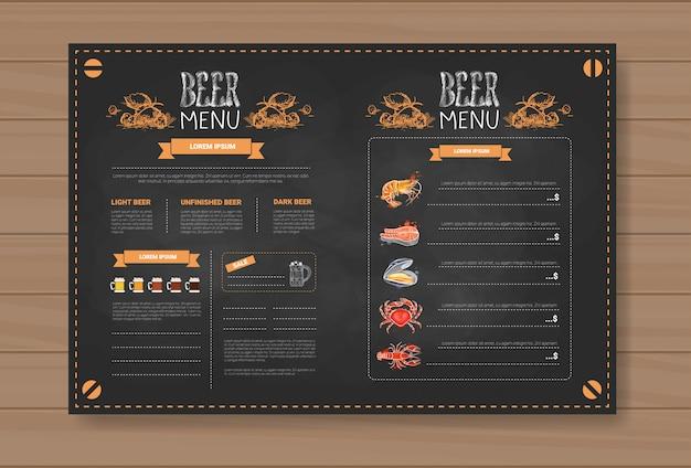 Projekt Menu Piwa I Owoców Morza Dla Restauracji Cafe Pub Chalked Premium Wektorów