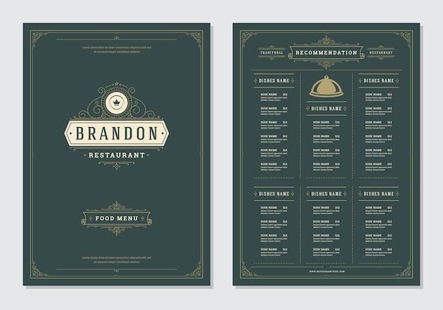 Projekt menu restauracji i szablon wektor broszura etykiety. Premium Wektorów