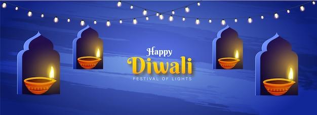 Projekt nagłówka lub baneru strony z oświetlonymi lampami naftowymi (diya) na łuku okna na festiwal światła, święto happy diwali. Premium Wektorów