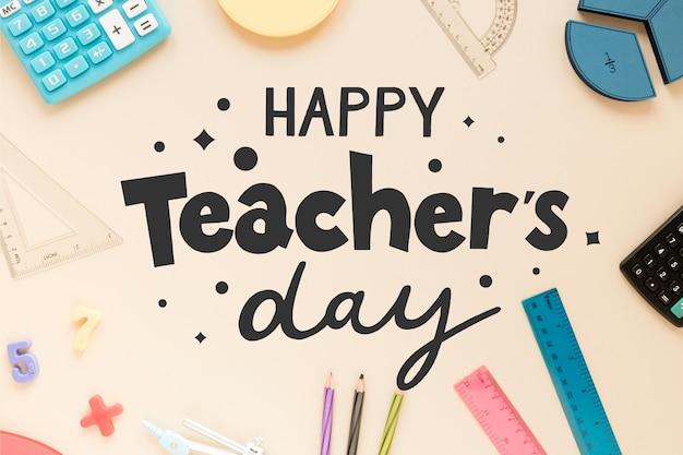 Projekt Napisu Szczęśliwego Nauczyciela Premium Wektorów