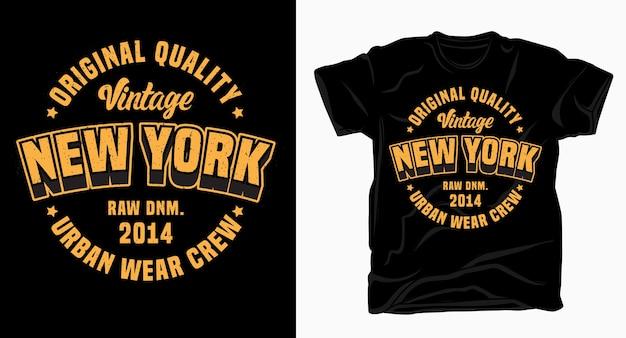 Projekt Napisu Vintage New York Na Koszulkę Premium Wektorów