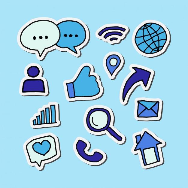 Projekt Niebieskich Naklejek Ikony Mediów Społecznościowych Premium Wektorów
