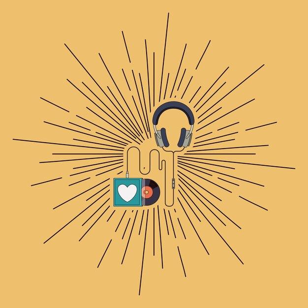 Projekt Odtwarzacza Muzyki Premium Wektorów