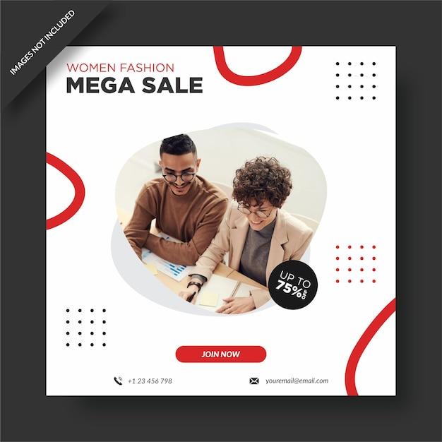 Projekt Okładki Facebook Mega Sprzedaży Mody Damskiej Premium Wektorów