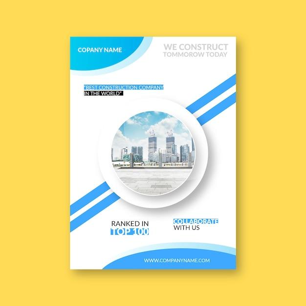 Projekt Okładki Firmy Budowlanej Premium Wektorów