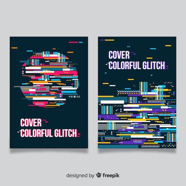 Projekt Okładki Z Kolorowym Efektem Glitch Darmowych Wektorów
