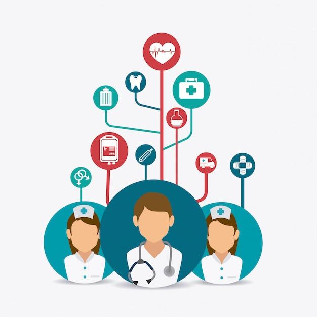 Projekt opieki medycznej. Premium Wektorów