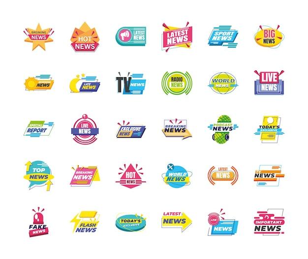 Projekt Pakietu Ikon Banerów Informacyjnych I Etykiet, Komunikacja Kanału Technologicznego I Ilustracja Motywu Telewizyjnego Premium Wektorów