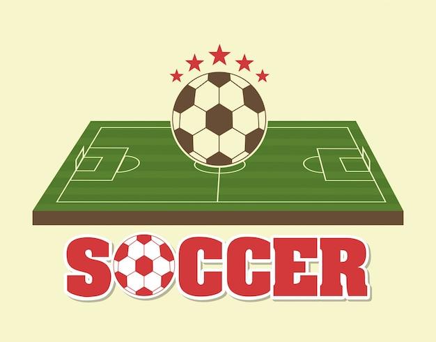 Projekt piłki nożnej na ilustracji wektorowych tle krem Premium Wektorów