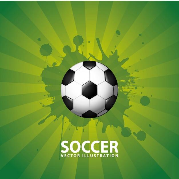 Projekt piłki nożnej na zielonym tle Premium Wektorów