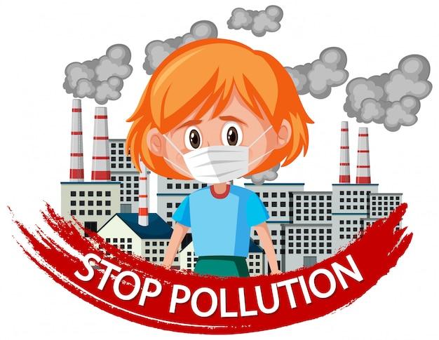 Projekt Plakatu Dla Zatrzymania Zanieczyszczenia Z Dziewczyną Noszącą Maskę Premium Wektorów