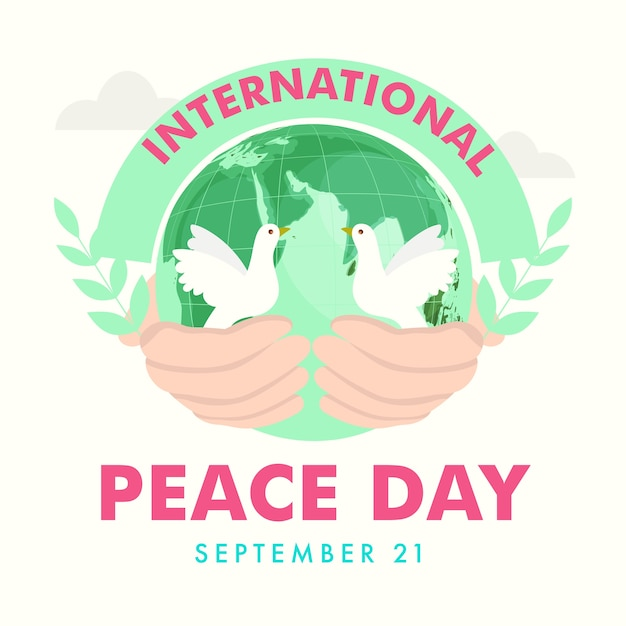 Projekt Plakatu Dzień Pokoju Międzynarodowego Z Ludzką Ręką Trzymającą Kulę Ziemską I Gołębie Na Białym Tle. Premium Wektorów