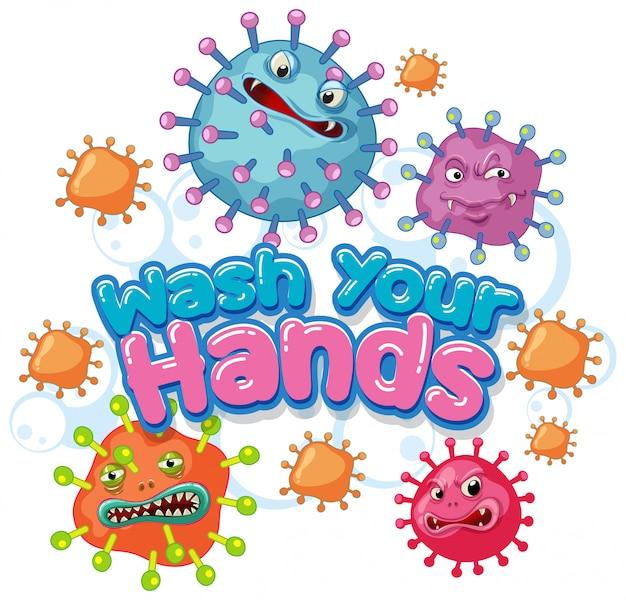 Projekt Plakatu Koronawirusa Słowem Umyj Ręce Darmowych Wektorów