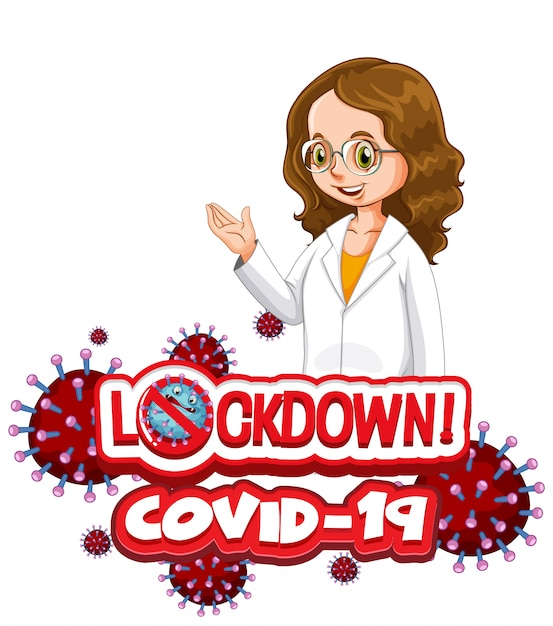 Projekt Plakatu Koronawirusa Z Blokadą Słów I Szczęśliwym Lekarzem Darmowych Wektorów