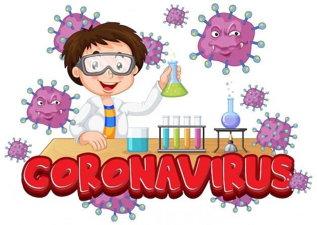 Projekt Plakatu Koronawirusa Z Chłopcem Pracującym W Laboratorium Premium Wektorów