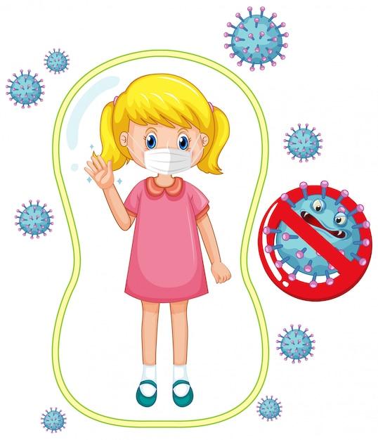 Projekt Plakatu Koronawirusa Z Dziewczyną Noszącą Maskę Darmowych Wektorów
