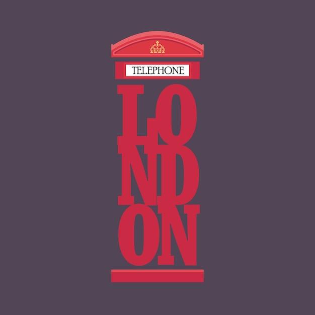 Projekt plakatu na czerwonej budce telefonicznej w londynie Premium Wektorów