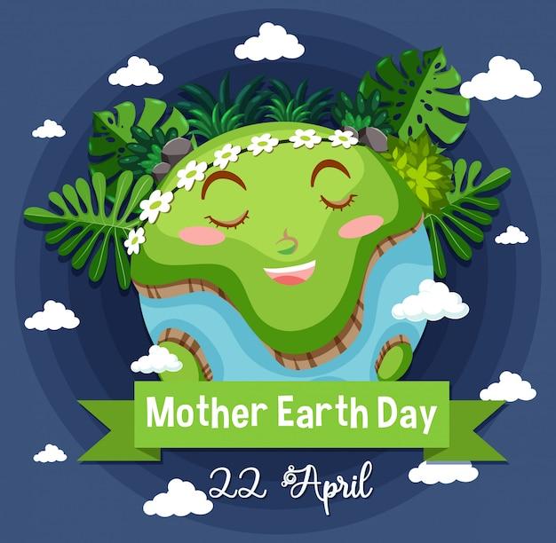 Projekt Plakatu Na Dzień Matki Ziemi Z Happy Earth Darmowych Wektorów