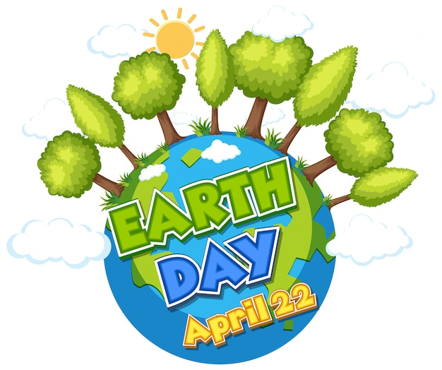 Projekt Plakatu Na Szczęśliwy Dzień Ziemi Z Zielonego Lasu Na Ziemi Premium Wektorów