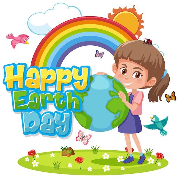 Projekt Plakatu Na Szczęśliwy Dzień Ziemi Ze Szczęśliwą Dziewczyną W Parku Premium Wektorów