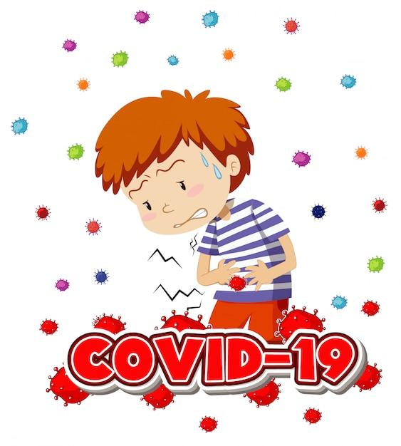 Projekt Plakatu Na Temat Koronawirusa Z Chorym Chłopcem Darmowych Wektorów