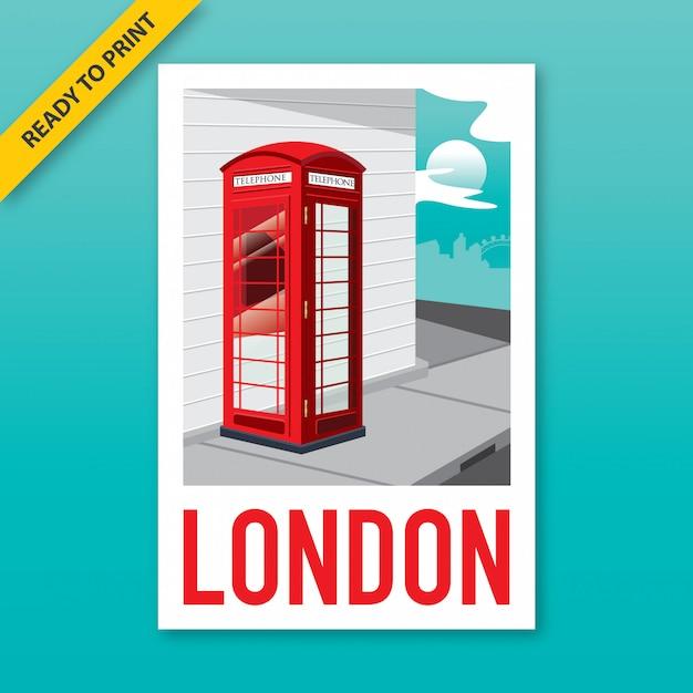 Projekt Plakatu, Naklejki I Pocztówki W Stylu Vintage Czerwonej Budki Telefonicznej Na Rogu Ulicy W Londynie. Premium Wektorów