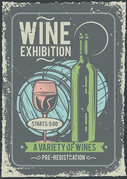 Projekt Plakatu Reklamowego Przedstawiający Butelkę Wina Oraz Kieliszek I Beczkę Darmowych Wektorów