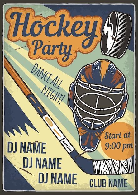 Projekt Plakatu Reklamowego Z Ilustracją Przedstawiającą Kask Hokejowy I Klub Darmowych Wektorów