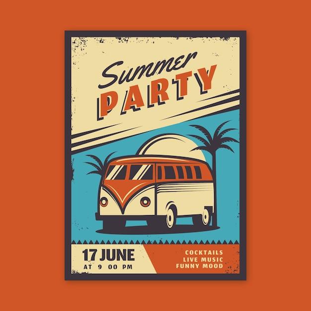 Projekt Plakatu Rocznika Letniej Imprezy Darmowych Wektorów