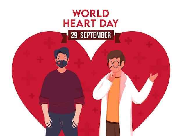Projekt Plakatu światowego Dnia Serca Z Kreskówkowym Lekarzem I Postacią Pacjenta Na Kształcie Czerwonego Serca I Białym Tle. Premium Wektorów