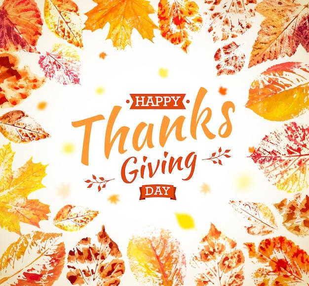 Projekt plakatu święto dziękczynienia. jesienna kartka z pozdrowieniami. spadają kolorowe liście malowane akwarelą z napisem happy thanksgiving day. ręcznie rysowane malowane liście klonu, dębu, osiki. Premium Wektorów