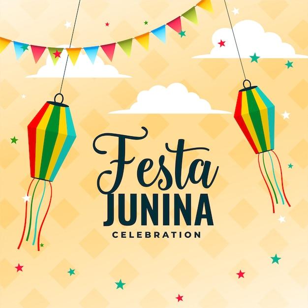 Projekt Plakatu Uroczystości Festa Junina Z Elementami Dekoracyjnymi Darmowych Wektorów