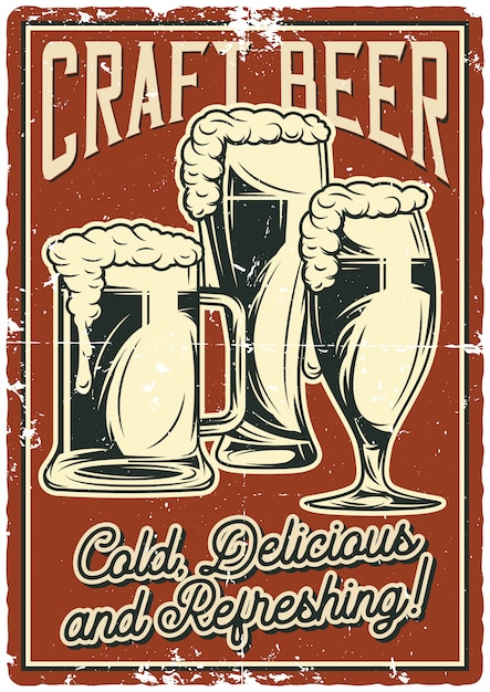 Projekt plakatu z ilustracją kufle do piwa Premium Wektorów