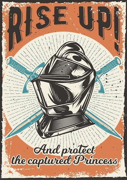 Projekt Plakatu Z Ilustracją Przedstawiającą Zbroję Darmowych Wektorów