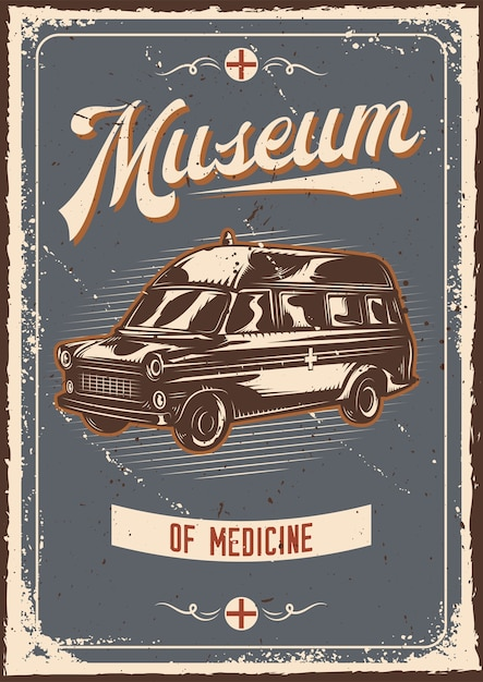 Projekt Plakatu Z Ilustracją Reklamy Z Samochodem Ratunkowym Darmowych Wektorów