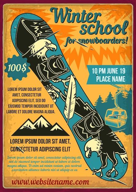 Projekt Plakatu Z Ilustracją Snowboardu. Darmowych Wektorów