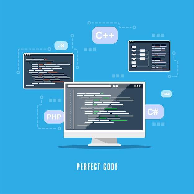 Projekt Płaski, Kodowanie, Programowanie, Koncepcja Rozwoju Aplikacji. Premium Wektorów