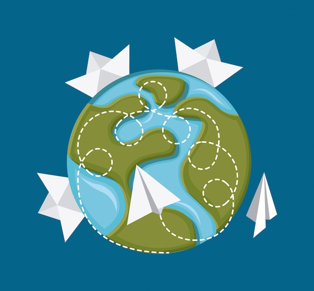 Projekt podróży na niebieskim tle ilustracji wektorowych Premium Wektorów