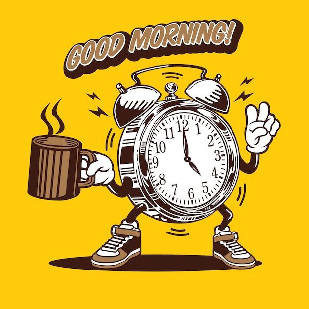 Projekt Postaci Maskotka Dzień Dobry Zegar Kawy Premium Wektorów