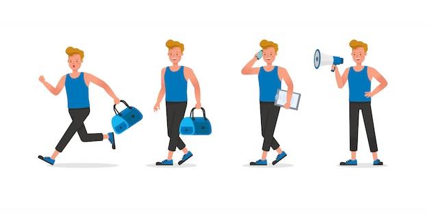 Projekt Postaci Trenera Fitness. Mężczyzna Ubrany W Sportowe Ubrania. Premium Wektorów