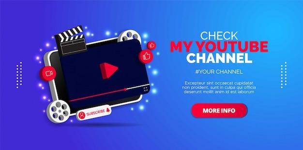 Projekt Promocyjny Dla Kanału Youtube Premium Wektorów