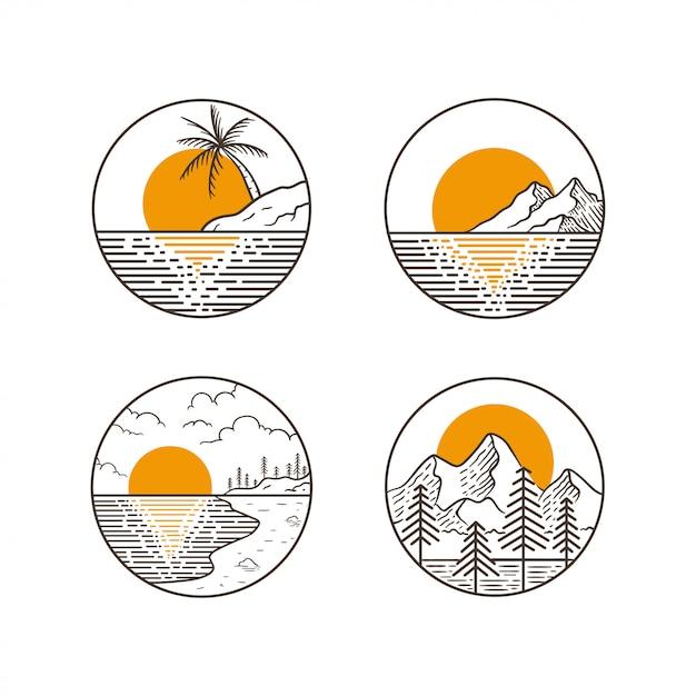 Projekt przygody w górach Premium Wektorów