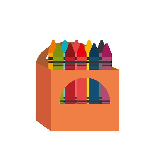 Projekt pudełko kredki kreskówka Premium Wektorów