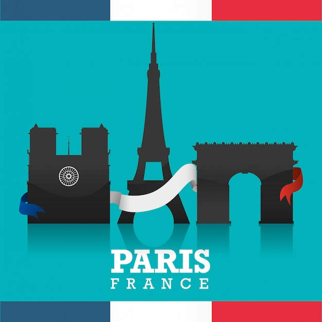 Projekt Punktów Orientacyjnych W Paryżu Premium Wektorów