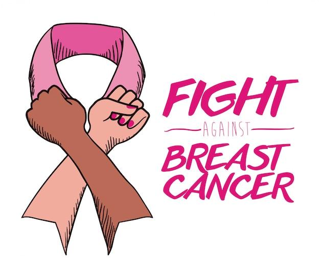 Projekt raka piersi, ilustracji wektorowych. Premium Wektorów